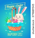 happy easter greeting card with ... | Shutterstock .eps vector #379889545