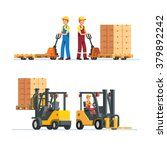 warehouse workers working with... | Shutterstock .eps vector #379892242