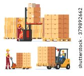 warehouse workers loading ... | Shutterstock .eps vector #379892662