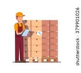 warehouse worker checking goods ... | Shutterstock .eps vector #379901026