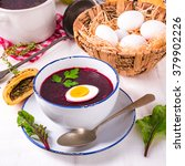 beet green soup with egg | Shutterstock . vector #379902226