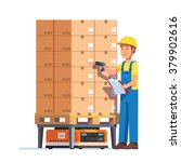 warehouse worker checking goods ... | Shutterstock .eps vector #379902616