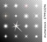 Stock vector collection of glittering stars and flickering lights transparent light effects vector illustration 379913296