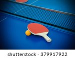 pingpong rackets and ball...   Shutterstock . vector #379917922