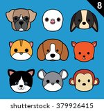 flat animal faces stroke icon... | Shutterstock .eps vector #379926415
