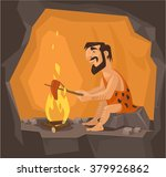 caveman is cooking in cave.... | Shutterstock .eps vector #379926862