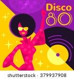 retro 80s disco poster. vector... | Shutterstock .eps vector #379937908
