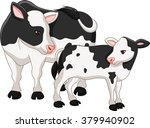 cute cow mother with baby calf | Shutterstock . vector #379940902