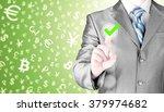 business man touching  pressing ... | Shutterstock . vector #379974682