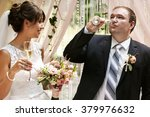 stylish happy newlyweds on the...   Shutterstock . vector #379976632
