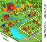 medieval isometric landscape... | Shutterstock .eps vector #380007562
