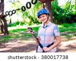 adventure climbing high wire... | Shutterstock . vector #380017738