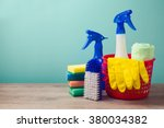 cleaning concept with supplies | Shutterstock . vector #380034382