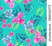 vector tropical pattern.... | Shutterstock .eps vector #380036575