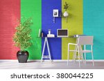 colored wall in home office... | Shutterstock . vector #380044225