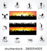 silhouettes of athletes and...   Shutterstock .eps vector #380054005