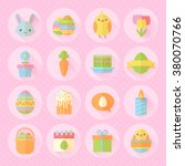 colorful spring easter flat... | Shutterstock .eps vector #380070766