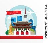 seoul  detailed silhouette.... | Shutterstock .eps vector #380071168