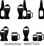 black set of beer silhouette   Shutterstock .eps vector #380077222