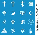 religion icon set . vector... | Shutterstock .eps vector #380083102
