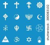 religion icon set . vector... | Shutterstock .eps vector #380083102
