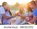 group of friends toasting... | Shutterstock . vector #380101552