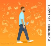 creative man on orange... | Shutterstock .eps vector #380112346