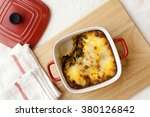 baked spinach with ham | Shutterstock . vector #380126842
