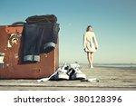 adventurous woman is walking... | Shutterstock . vector #380128396