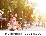 glamorous happy young couple... | Shutterstock . vector #380146306