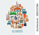 industrial set with oil and... | Shutterstock .eps vector #380151586