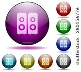 set of color speakers glass...