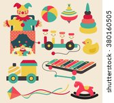 old retro kid toys and circus...   Shutterstock .eps vector #380160505