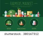 farmers market. flat vector... | Shutterstock .eps vector #380167312