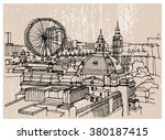 city illustration. hand drawn... | Shutterstock .eps vector #380187415
