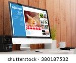 modern wooden workspace with...   Shutterstock . vector #380187532