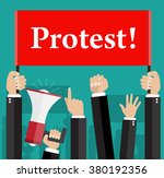 hands holding protest signs and ... | Shutterstock .eps vector #380192356