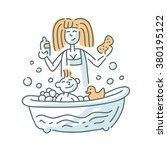 bathing baby illustration | Shutterstock .eps vector #380195122