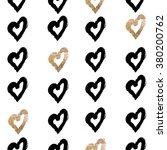 gold and black hearts pattern  | Shutterstock .eps vector #380200762