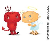 cute demon and nos so cute angel | Shutterstock .eps vector #38020222