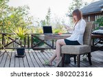 women  using tablet outside in... | Shutterstock . vector #380202316