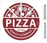 vintage vector pizza logo ... | Shutterstock .eps vector #380203306