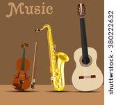 vector saxophone  guitar and... | Shutterstock .eps vector #380222632