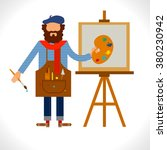 artist painter at work easel... | Shutterstock .eps vector #380230942
