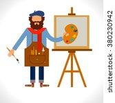 artist painter at work easel... | Shutterstock .eps vector #380230942