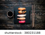 set of sashimi sushi with soy... | Shutterstock . vector #380231188