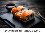 close up of sushi rolls on... | Shutterstock . vector #380231242