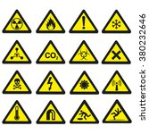 set of triangular warning... | Shutterstock .eps vector #380232646