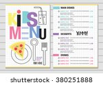 cute colorful kids meal menu... | Shutterstock .eps vector #380251888
