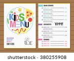 cute colorful kids meal menu... | Shutterstock .eps vector #380255908